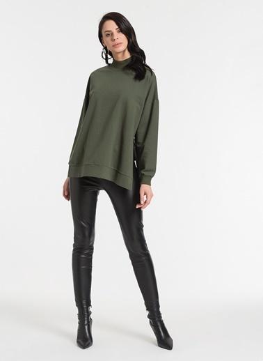 Styletag Yanları Fermuarlı Sweatshirt Haki